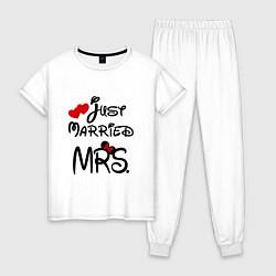 Пижама хлопковая женская Just married Mrs цвета белый — фото 1
