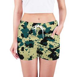 Шорты женские Камуфляж пиксельный: зеленый/черный цвета 3D — фото 2