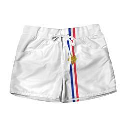 Шорты женские Франция: лента с гербом цвета 3D-принт — фото 1