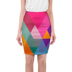 Юбка-карандаш женская Разноцветные полигоны цвета 3D — фото 1