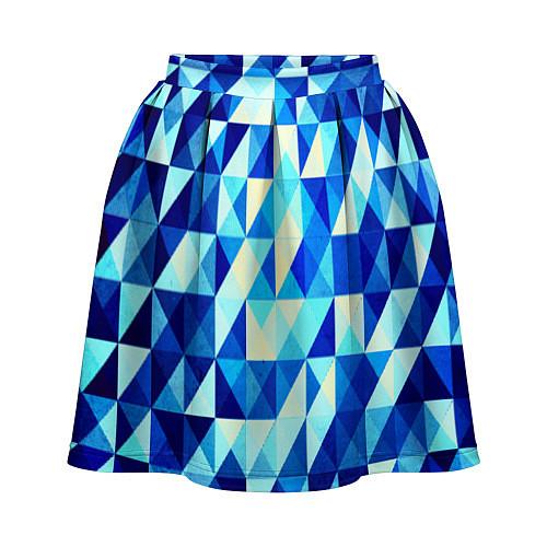 Женская юбка Синяя геометрия / 3D – фото 1