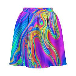 Юбка-солнце 3D женская Цветные разводы цвета 3D — фото 1