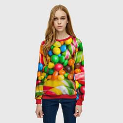 Свитшот женский Сладкие конфетки цвета 3D-красный — фото 2
