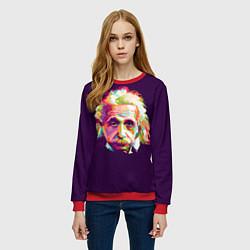 Свитшот женский Альберт Эйнштейн: Арт цвета 3D-красный — фото 2