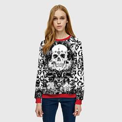 Свитшот женский Grunge Skull цвета 3D-красный — фото 2
