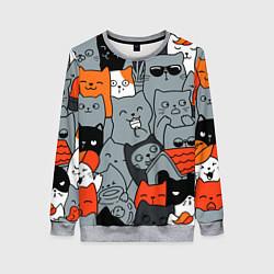 Женский свитшот Разноцветные коты
