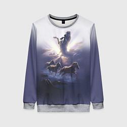 Свитшот женский Небесные лошади цвета 3D-меланж — фото 1