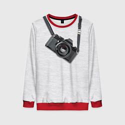 Свитшот женский Фотоаппарат на груди цвета 3D-красный — фото 1