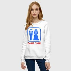 Свитшот хлопковый женский Game over цвета белый — фото 2