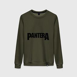 Свитшот хлопковый женский Pantera цвета хаки — фото 1