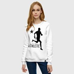 Свитшот хлопковый женский Лёгкая атлетика цвета белый — фото 2