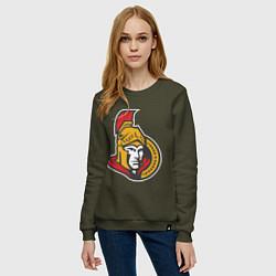Свитшот хлопковый женский Ottawa Senators цвета хаки — фото 2