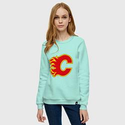 Свитшот хлопковый женский Calgary Flames цвета мятный — фото 2
