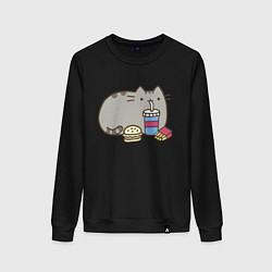 Свитшот хлопковый женский Котик с бургером и фри цвета черный — фото 1