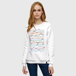 Свитшот хлопковый женский Эквалайзер цвета белый — фото 2