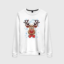 Свитшот хлопковый женский Рождественский олень цвета белый — фото 1