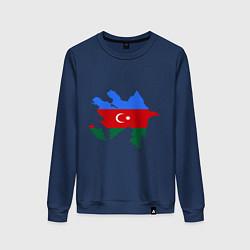Свитшот хлопковый женский Azerbaijan map цвета тёмно-синий — фото 1