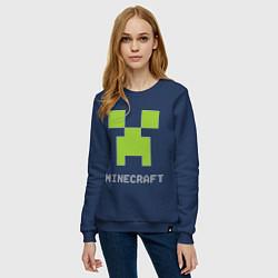 Свитшот хлопковый женский Minecraft logo grey цвета тёмно-синий — фото 2