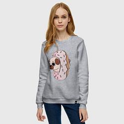 Свитшот хлопковый женский Мопс-пончик цвета меланж — фото 2