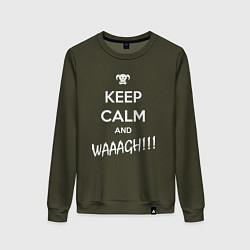 Женский хлопковый свитшот с принтом Keep Calm & WAAAGH, цвет: хаки, артикул: 10145913905317 — фото 1