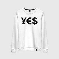 Свитшот хлопковый женский YE$ цвета белый — фото 1