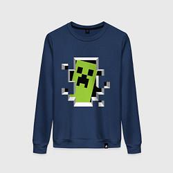 Свитшот хлопковый женский Crash Minecraft цвета тёмно-синий — фото 1