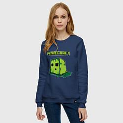 Свитшот хлопковый женский Minecraft Creeper цвета тёмно-синий — фото 2