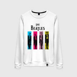 Свитшот хлопковый женский Walking Beatles цвета белый — фото 1