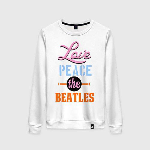 Женский свитшот Love peace the Beatles / Белый – фото 1