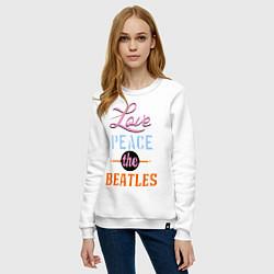 Свитшот хлопковый женский Love peace the Beatles цвета белый — фото 2