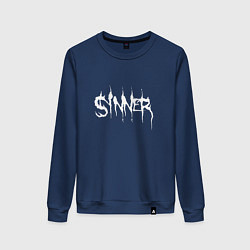 Свитшот хлопковый женский Real Sinner цвета тёмно-синий — фото 1