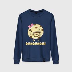 Свитшот хлопковый женский Cake: Omnomnom! цвета тёмно-синий — фото 1