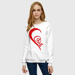 Свитшот хлопковый женский One love: for his цвета белый — фото 2