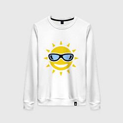 Свитшот хлопковый женский Солнышко в очках цвета белый — фото 1