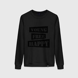 Свитшот хлопковый женский Young free happy цвета черный — фото 1