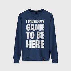 Свитшот хлопковый женский PUBG: I Paused My Game цвета тёмно-синий — фото 1