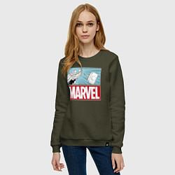 Свитшот хлопковый женский Thor: Marvel цвета хаки — фото 2