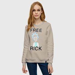 Свитшот хлопковый женский Free Rick цвета миндальный — фото 2