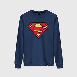 Свитшот хлопковый женский Superman logo цвета тёмно-синий — фото 1