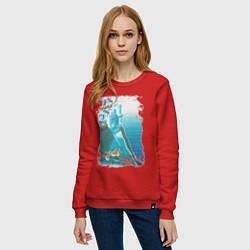 Свитшот хлопковый женский Крым цвета красный — фото 2