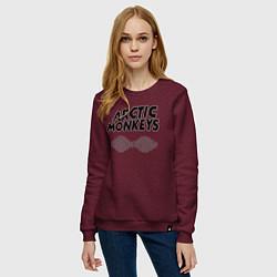 Свитшот хлопковый женский Arctic Monkeys цвета меланж-бордовый — фото 2