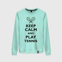 Свитшот хлопковый женский Keep Calm & Play tennis цвета мятный — фото 1