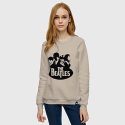 Свитшот хлопковый женский The Beatles Band цвета миндальный — фото 2