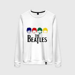 Свитшот хлопковый женский The Beatles Heads цвета белый — фото 1