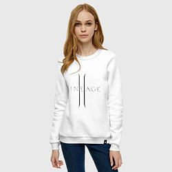 Свитшот хлопковый женский Lineage logo цвета белый — фото 2
