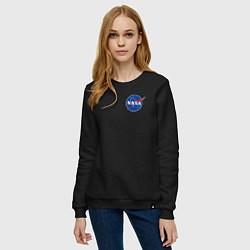Свитшот хлопковый женский NASA цвета черный — фото 2