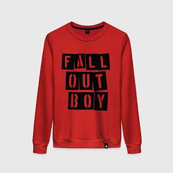 Свитшот хлопковый женский Fall Out Boy: Words цвета красный — фото 1