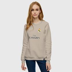 Свитшот хлопковый женский Real Madrid: Fly Emirates цвета миндальный — фото 2