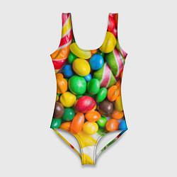 Купальник-боди 3D женский Сладкие конфетки цвета 3D — фото 1