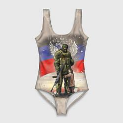 Купальник-боди 3D женский Солдат и дитя цвета 3D — фото 1